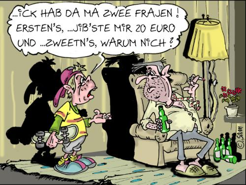 Cartoon: zwee fragen (medium) by sam tagged beziehung,bunt,cartoon,character,frau,mann,home,kinder,man,woman