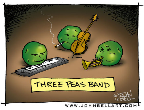 Cartoon: Three Peas Band (medium) by JohnBellArt tagged three,peas,band,trumpet,keyboard,bass,music,moody