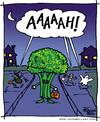 Cartoon: Fear the Broccoli! (small) by JohnBellArt tagged halloween,costume,children,child,fright,scare,scream,run,dark,night,moon,broccoli,vegetable,ghost,witch,mummy,monster,pumpkin,trick,or,treat