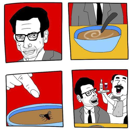 Cartoon: The adventures of Jeff Goldblum. (medium) by mypenleaks tagged joke,goldblum,jeff,fly,lol,soup