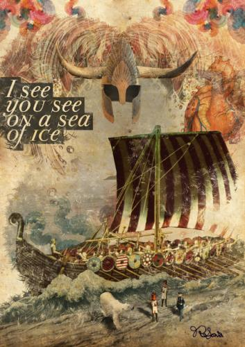 Cartoon: Sea of Ice (medium) by thiagoribeiro tagged vintage,illustration,old,paper,collage,book,sea,ice,viking