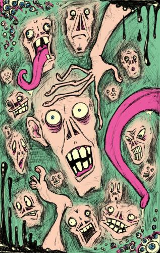 Cartoon: Faces (medium) by bigdaddystovetop tagged faces,grotesque,ugly,scary,funny,strange