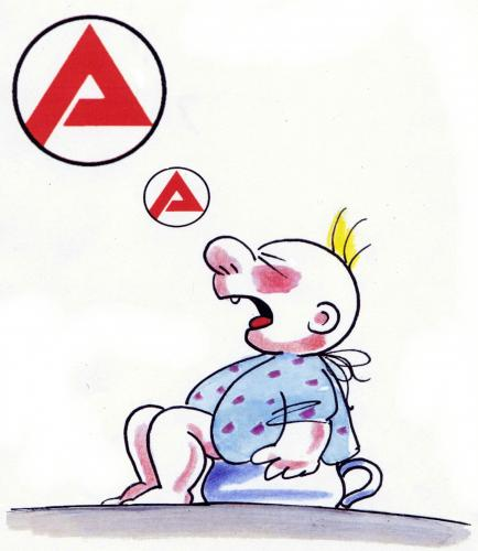Cartoon: AA (medium) by Reiner Schwalme tagged arbeitslosigkeit