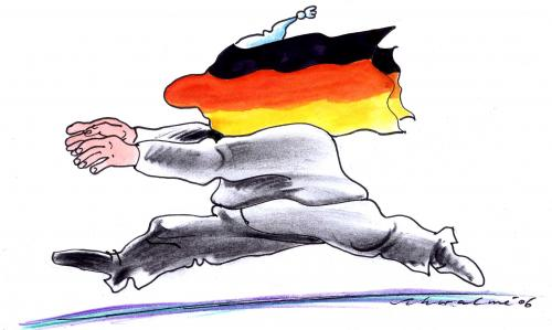 Cartoon: deutsch (medium) by Schwalme tagged nationalismus,fanatismus,leitkultur