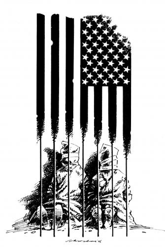 Cartoon: gefangen (medium) by Reiner Schwalme tagged usa,guantanamo