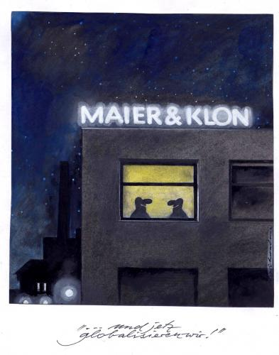 Cartoon: Maier und Clon (medium) by Reiner Schwalme tagged clooning,klonen,klon