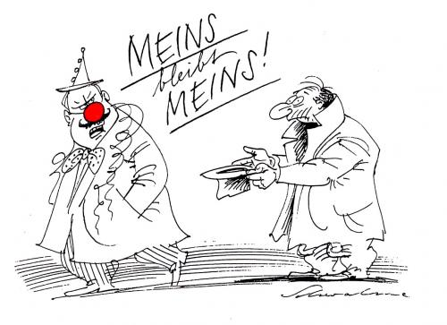 Cartoon: Meins (medium) by Reiner Schwalme tagged fasching,karnewal,selbssucht,egoismus
