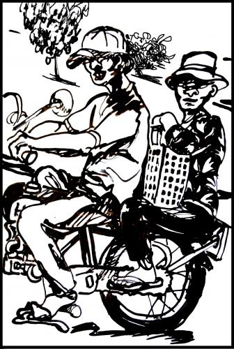 Cartoon: Vietnamise Xe Om mototaxi (medium) by yalisanda tagged xe,om,asia,vietnam,mototaxi,woman,old,man,taxidriver,black,ink,drawing