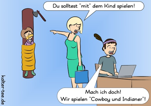 Cartoon: Kindererziehung (medium) by kowo tagged kinder,indianer,cowboy