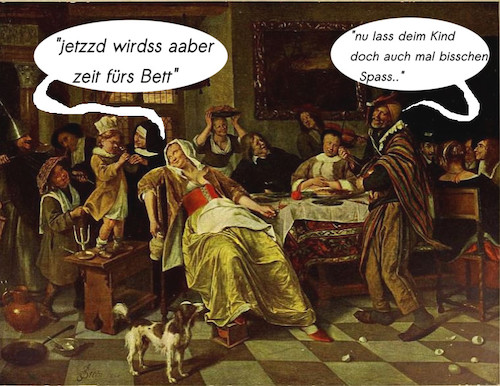 Cartoon: alleinerziehende mutter 17.jhr (medium) by ab tagged kinder,mutter,allein,fest,abend,trinken