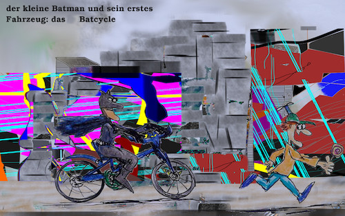 Cartoon: kindheit (medium) by ab tagged comic,figur,batman,dark,knight,jugend,kind,fahrrad