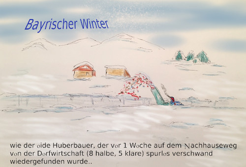 Cartoon: lost and found (medium) by ab tagged bayern,winter,schnee,fräse,weg,wirtshaus,alkohol,tod