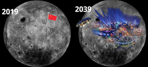 Cartoon: moon takeover (medium) by ab tagged cina,moon,landing