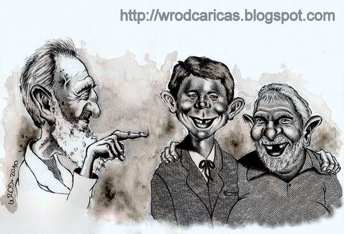 Cartoon: The Comrades (medium) by WROD tagged fidel,castro,lula,alfred,newman