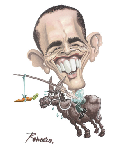 Cartoon: Barack Obama cabalga (medium) by Romero tagged obama,barack,art,caricature,crisis,man,politics,portrait,usa