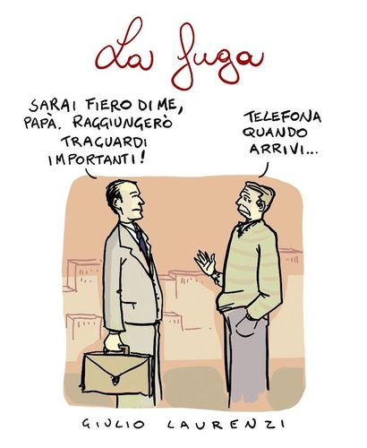 Cartoon: La Fuga (medium) by Giulio Laurenzi tagged fuga
