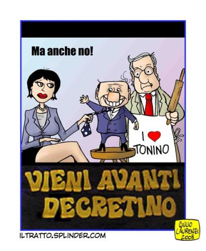 Cartoon: Vieni avanti decretino (medium) by Giulio Laurenzi tagged politics
