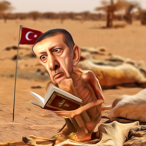 Cartoon: Inflation (medium) by Bart van Leeuwen tagged erdogan,inflation,lira,turkey,allah