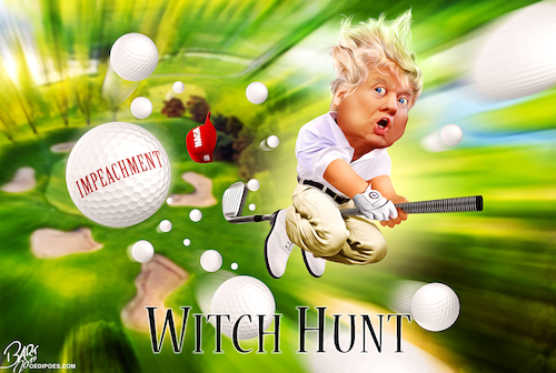 Cartoon: Witch hunt (medium) by Bart van Leeuwen tagged witch,hunt,impeachment,inguiry,trump,golf,rally,presidential,election,2020