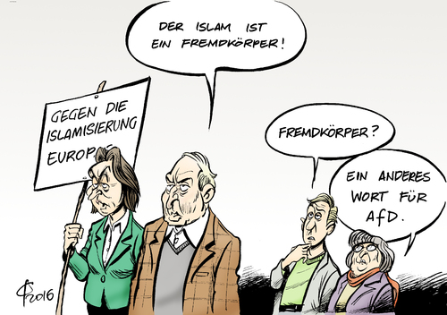 Cartoon: Fremdkörper (medium) by Paolo Calleri tagged deutschland,parteien,afd,alternative,fuer,rechtspopulisten,rechtspopulistisch,fremdkoerper,islam,religion,islamophob,islamfeindlich,von,storch,gauland,karikatur,cartoon,paolo,calleri,deutschland,parteien,afd,alternative,fuer,rechtspopulisten,rechtspopulistisch,fremdkoerper,islam,religion,islamophob,islamfeindlich,von,storch,gauland,karikatur,cartoon,paolo,calleri