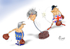 Cartoon: Punching Ball (small) by Paolo Calleri tagged eu,gb,uk,grossbritannien,premier,premierministerin,theresa,may,bruessel,besuch,ausstieg,gemeinschaft,brexit,austritt,parlament,parlamentarier,unterhaus,deal,abkommen,kommission,praesident,jean,claude,juncker,karikatur,cartoon,paolo,calleri
