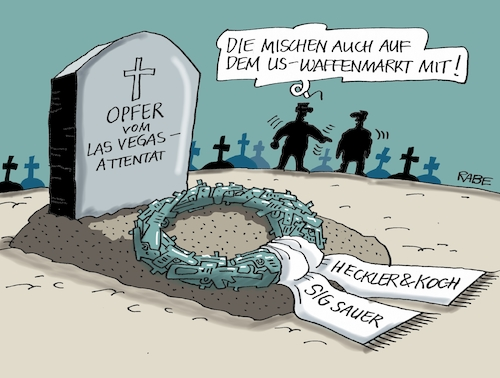 Cartoon: Attentat (medium) by RABE tagged las,vegas,attentat,massaker,waffen,waffenlobby,heckler,koch,sig,sauer,rabe,ralf,böhme,cartoon,karikatur,pressezeichnung,farbcartoon,tagescartoon,friedhof,opfer,grab,kranz,schußwaffen,waffenmarkt,us,usa,las,vegas,attentat,massaker,waffen,waffenlobby,heckler,koch,sig,sauer,rabe,ralf,böhme,cartoon,karikatur,pressezeichnung,farbcartoon,tagescartoon,friedhof,opfer,grab,kranz,schußwaffen,waffenmarkt,us,usa