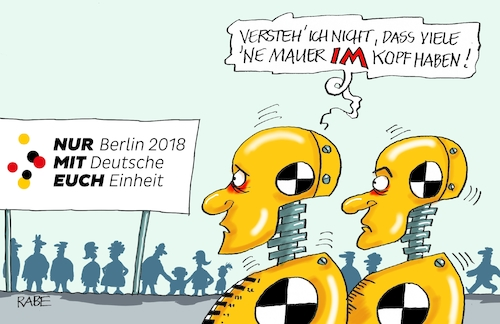Cartoon: Deutsche Einheit (medium) by RABE tagged mauerfall,tag,der,deutschen,einheit,berlin,fest,festreden,köpfe,grenze,zone,ossis,wessis,dummys,chrashtest,chrashtestdummys,rabe,ralf,böhme,cartoon,karikatur,pressezeichnung,farbcartoon,tagescartoon,oktober,merkel,kanzlerin,bürger,bürgerbewegung,mauerfall,tag,der,deutschen,einheit,berlin,fest,festreden,köpfe,grenze,zone,ossis,wessis,dummys,chrashtest,chrashtestdummys,rabe,ralf,böhme,cartoon,karikatur,pressezeichnung,farbcartoon,tagescartoon,oktober,merkel,kanzlerin,bürger,bürgerbewegung