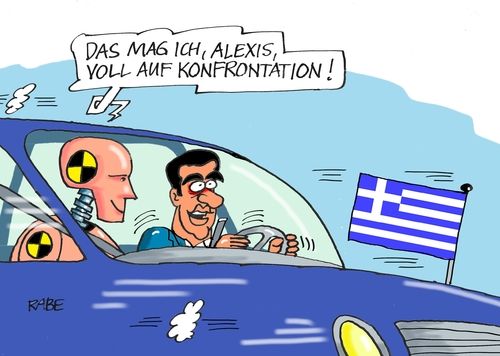 Cartoon: Dummi (medium) by RABE tagged griechenland,alexis,tsipras,staatspleite,eu,eurozone,schäuble,troika,ezb,rabe,ralf,böhme,cartoon,karikatur,pressezeichnung,farbcartoon,auto,chrash,konfrontation,chrashtest,dummis,griechenland,alexis,tsipras,staatspleite,eu,eurozone,schäuble,troika,ezb,rabe,ralf,böhme,cartoon,karikatur,pressezeichnung,farbcartoon,auto,chrash,konfrontation,chrashtest,dummis