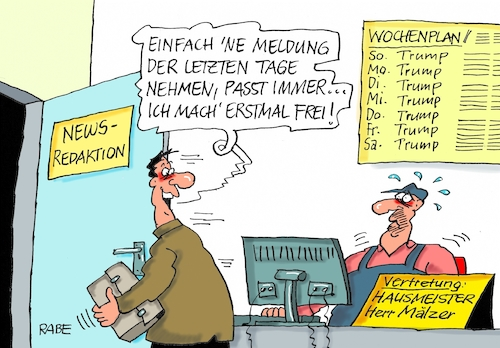 Cartoon: Freier Redakteur (medium) by RABE tagged redaktion,journalist,mitarbeiter,zeitung,tageszeitung,chefredaktion,news,newsredaktion,nachrichtenredaktion,hausmeister,urleub,freistellung,rabe,ralf,böhme,cartoon,karikatur,pressezeichnung,farbcartoon,tagescartoon,donald,trump,usa,präsident,journalismus,redaktion,journalist,mitarbeiter,zeitung,tageszeitung,chefredaktion,news,newsredaktion,nachrichtenredaktion,hausmeister,urleub,freistellung,rabe,ralf,böhme,cartoon,karikatur,pressezeichnung,farbcartoon,tagescartoon,donald,trump,usa,präsident,journalismus