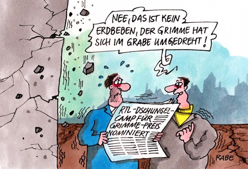 Cartoon: Grimmepreis I (medium) by RABE tagged grimme,grimmepreis,fernsehpreis,nominierung,privatsender,privatfernsehen,rtl,dschungel,dschungelcamp,ekelprüfungen,rabe,ralf,böhme,cartoon,karikatur,einschaltquoten,grimmeinstitut,dschungelkönig,zietlow,hartwich,grimme,grimmepreis,fernsehpreis,nominierung,privatsender,privatfernsehen,rtl,dschungel,dschungelcamp,ekelprüfungen,rabe,ralf,böhme,cartoon,karikatur,einschaltquoten,grimmeinstitut,dschungelkönig,zietlow,hartwich