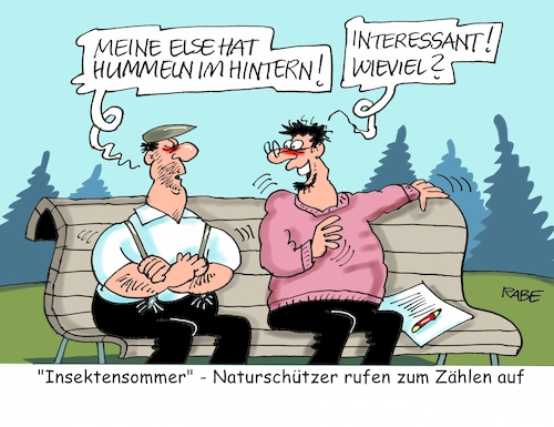 Cartoon: Insektenzählung (medium) by RABE tagged natur,insekten,insektensterben,insektenzählung,hummeln,hintern,insektensommer,naturschützer,rabe,ralf,böhme,cartoon,karikatur,pressezeichnung,farbcartoon,tagescartoon,bank,rentner,else,insektenwelt,natur,insekten,insektensterben,insektenzählung,hummeln,hintern,insektensommer,naturschützer,rabe,ralf,böhme,cartoon,karikatur,pressezeichnung,farbcartoon,tagescartoon,bank,rentner,else,insektenwelt