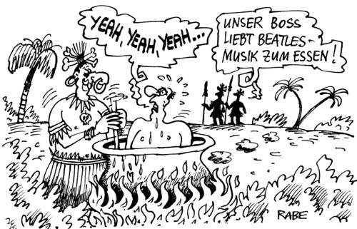 Cartoon: Kanibalen (medium) by RABE tagged kanibale,menschenfresser,kochen,essen,knochen,suppe,kochkessel,suppenkessel,menschenfleisch,suppenlöffel,suppenkelle,häuptling,boss,urwald,wildnis,wilde,schlachten,abschlachten,mann,männer,schwitzen,hitze,beatles,yeah,beatlesmusik,schallplatte,vinyl,musik,popmusik,liverpool,john,george,paul,ringo,boygroup,menschenfresser,kannibale,essen,menschenfleisch,wilde,insel,kannibalismus
