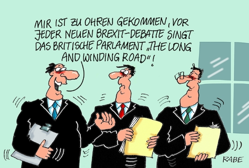 Cartoon: Long And Winding Road (medium) by RABE tagged brexit,eu,insel,may,britten,austritt,rabe,ralf,böhme,cartoon,karikatur,pressezeichnung,farbcartoon,tagescartoon,bauhaus,baukasten,bauklötzer,plan,referendum,februar,ausstieg,long,and,winding,road,debatte,parlament,parliament,house,debattenbegin,brexitdebatte,gesang,hit,pop,beatles,mccartney,brexit,eu,insel,may,britten,austritt,rabe,ralf,böhme,cartoon,karikatur,pressezeichnung,farbcartoon,tagescartoon,bauhaus,baukasten,bauklötzer,plan,referendum,februar,ausstieg,long,and,winding,road,debatte,parlament,parliament,house,debattenbegin,brexitdebatte,gesang,hit,pop,beatles,mccartney