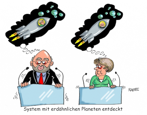 Cartoon: Planeten (medium) by RABE tagged erde,planeten,planetensystem,wahlkampf,schulz,merkel,rabe,ralf,böhme,cartoon,karikatur,pressezeichnung,farbcartoon,tagescartoon,rednerpool,rakete,mond,spd,cdu,bundestagswahl,umfrage,martin,angela,wahlsieg,erde,planeten,planetensystem,wahlkampf,schulz,merkel,rabe,ralf,böhme,cartoon,karikatur,pressezeichnung,farbcartoon,tagescartoon,rednerpool,rakete,mond,spd,cdu,bundestagswahl,umfrage,martin,angela,wahlsieg