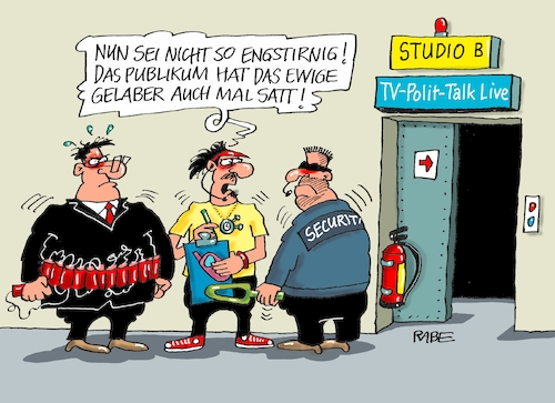 Cartoon: Polittalk nochmal (medium) by RABE tagged polittalk,talkshow,gelaber,tv,maischberger,illner,will,plaßberg,publikum,snder,ard,zdf,rabe,ralf,böhme,cartoon,karikatur,pressezeichnung,farbcartoon,tagescartoon,sprengstoff,attentäter,sprengstoffgürtel,moderator,polittalk,talkshow,gelaber,tv,maischberger,illner,will,plaßberg,publikum,snder,ard,zdf,rabe,ralf,böhme,cartoon,karikatur,pressezeichnung,farbcartoon,tagescartoon,sprengstoff,attentäter,sprengstoffgürtel,moderator