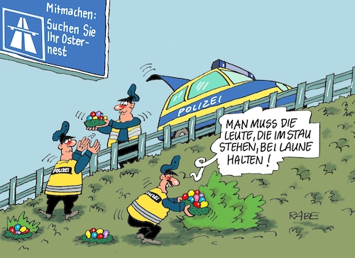 Cartoon: Stau (medium) by RABE tagged ostern,osterhase,ostereier,jesus,kreuzigung,rabe,ralf,böhme,cartoon,karikatur,pressezeichnung,farbcartoon,tagescartoon,opa,mähen,mähroboter,alexa,amazon,internet,eiersuche,osterreiseverkehr,stau,autofahrer,feinstaub,ostern,osterhase,ostereier,jesus,kreuzigung,rabe,ralf,böhme,cartoon,karikatur,pressezeichnung,farbcartoon,tagescartoon,opa,mähen,mähroboter,alexa,amazon,internet,eiersuche,osterreiseverkehr,stau,autofahrer,feinstaub