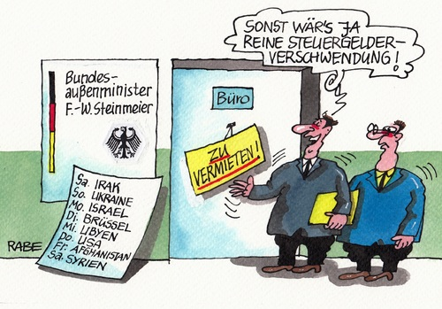 Cartoon: Steinmeier hier Steinmeier da (medium) by RABE tagged diplomatie,konflikte,verhandlungen,aussenminister,tagescartoon,farbcartoon,pressezeichnung,karikatur,cartoon,böhme,ralf,rabe,brüssel,eu,ukraine,libyen,syrien,irak,bundesaussenminister,spd,steinmeier,steinmeier,spd,bundesaussenminister,irak,syrien,libyen,ukraine,eu,brüssel,rabe,ralf,böhme,cartoon,karikatur,pressezeichnung,farbcartoon,tagescartoon,aussenminister,verhandlungen,konflikte,diplomatie