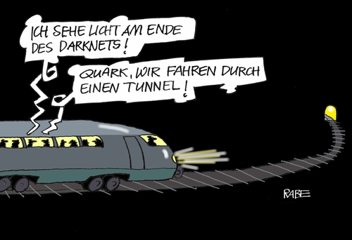 Cartoon: The Darkside Of The Darknet (medium) by RABE tagged darknet,dark,darkside,kriminelle,attentäter,waffenhandel,drogenhandel,verbrechensbekämpfung,dunkelheit,amok,münchen,würzburg,reutlingen,ansbach,rabe,ralf,böhme,cartoon,karikatur,pressezeichnung,farbcartoon,tagescartoon,zug,tunnel,tunnelende,the,darknet,dark,darkside,kriminelle,attentäter,waffenhandel,drogenhandel,verbrechensbekämpfung,dunkelheit,amok,münchen,würzburg,reutlingen,ansbach,rabe,ralf,böhme,cartoon,karikatur,pressezeichnung,farbcartoon,tagescartoon,zug,tunnel,tunnelende