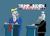 Cartoon: Duellanten III (small) by RABE tagged trump,usa,president,bolton,literatur,bücher,rabe,ralf,böhme,cartoon,karikatur,pressezeichnung,farbcartoon,tagescartoon,corona,biden,harris,tv,duelle,mikros,helm,visir,schloß,demokraten,november,präsidentschaftswahl,republikaner,rednerpult,schlammschlacht,maskenpflicht