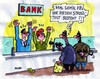 Cartoon: Stresstest (small) by RABE tagged banken,krise,kreditinstitut,bankschalter,geld,euro,finanzen,banker,bankräuber,pistole,bedrohung,schalldämpfer,maskierung,angst,zittern,tresor,geldschrank,geldbündel,geldautomat,alarmanlage