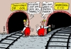 Cartoon: Tunnelblick (small) by RABE tagged gewrkschaften,gdl,lokführer,weselsky,lokführerstreik,streik,arbeitskampf,machtkampf,reisende,zugausfälle,rabe,ralf,böhme,cartoon,karikatur,pressezeichnung,farbcartoon,tagescartoon,tunnel,tunnelblick,evg