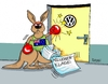 Cartoon: VW (small) by RABE tagged vw,wolfsburg,abgase,abgastest,manipulation,winterkorn,usa,abgasmanipulation,rabe,ralf,böhme,cartoon,karikatur,pressezeichnung,farbcartoon,tagescartoon,millionenforderungenwolfsburg,australien,känguru,millionenklage