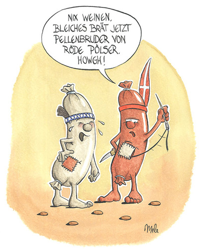 Cartoon: Dänen lügen nicht ... (medium) by mele tagged pölser,weisswurst,wurst,dänen,winnetou