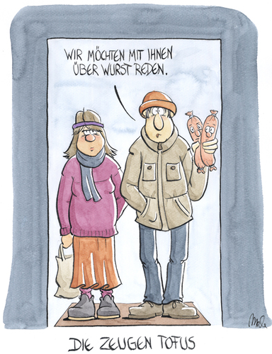 Cartoon: Die Zeugen Tofus (medium) by mele tagged jehovas,zeugen,wurst,tofu