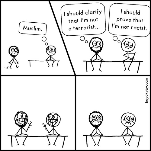 Cartoon: Muslim (medium) by heyokyay tagged prejudice,society,muslim,racism,comic,heyokyay