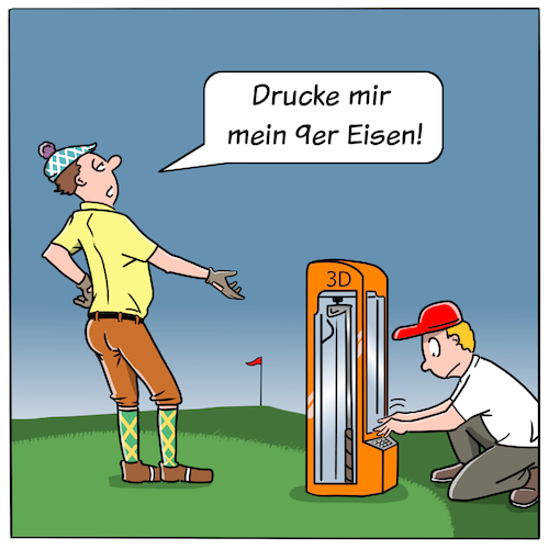 Cartoon: Golf Zukunft (medium) by CloudScience tagged golf,3d,drucker,drucken,sport,cartoon,digtalisierung,digital,technik,tech,technologie,moeller,illustration,zukunft,disruption,transformation,golfplatz,golf,3d,drucker,drucken,sport,cartoon,digtalisierung,digital,technik,tech,technologie,moeller,illustration,zukunft,disruption,transformation,golfplatz