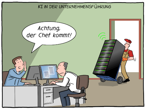 Cartoon: KI Chef (medium) by CloudScience tagged ki,kuenstliche,intelligenz,ai,server,zukunft,trend,future,unternehmen,business,unternehmensfuehrung,buero,mitarbeiter,manager,chef,boss,disruption,transformation,innovation,digitalisierung,digital,daten,big,data,cloud,it,technik,tech,technologie,arbeitsplatz,arbeiten,kollegen,leitung,roboter,automatisierung,robotik,ki,kuenstliche,intelligenz,ai,server,zukunft,trend,future,unternehmen,business,unternehmensfuehrung,buero,mitarbeiter,manager,chef,boss,disruption,transformation,innovation,digitalisierung,digital,daten,big,data,cloud,it,technik,tech,technologie,arbeitsplatz,arbeiten,kollegen,leitung,roboter,automatisierung,robotik