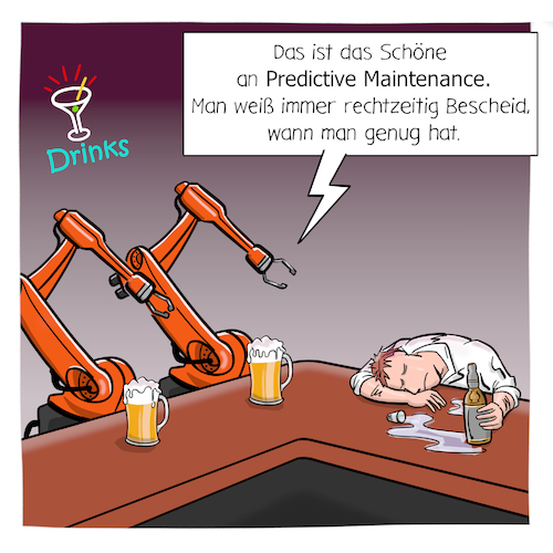 Cartoon: Predictive Maintenance (medium) by CloudScience tagged predictive,maintenance,wartung,industrie,40,fabrik,roboter,kuka,industrieroboter,produktion,smart,factory,robotik,digitalisierung,digital,tech,technik,technologie,computer,ki,künstliche,intelligenz,maschine,automatisierung,learning,kneipe,innovation,daten,zukunft,trend,iot,internet,der,dinge,predictive,maintenance,wartung,industrie,40,fabrik,roboter,kuka,industrieroboter,produktion,smart,factory,robotik,digitalisierung,digital,tech,technik,technologie,computer,ki,künstliche,intelligenz,maschine,automatisierung,learning,kneipe,innovation,daten,zukunft,trend,iot,internet,der,dinge