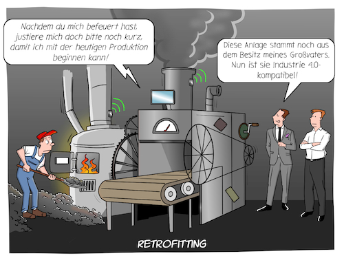Cartoon: Retrofitting (medium) by CloudScience tagged retrofit,industrie,iot,internet,der,dinge,vernetzung,smart,factory,intelligenz,ki,ai,sensoren,wirtschaft,produktion,fertigung,fabrik,anlage,digitalisierung,digital,aufruesten,investition,innovation,disruption,technologie,tech,daten,vernetzt,buzzword,computer,technik,retrofit,industrie,iot,internet,der,dinge,vernetzung,smart,factory,intelligenz,ki,ai,sensoren,wirtschaft,produktion,fertigung,fabrik,anlage,digitalisierung,digital,aufruesten,investition,innovation,disruption,technologie,tech,daten,vernetzt,buzzword,computer,technik