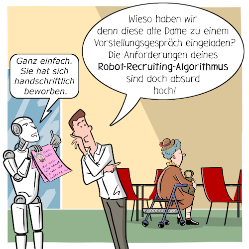 Cartoon: Robo-Recruiting (medium) by CloudScience tagged robo,recruiting,recruitment,bewerbung,ki,ai,algorithmen,bewerbungsgespraech,vorstellungsgespraech,filter,daten,analyse,arbeit,zukunft,digitalisierung,digital,roboter,diskriminierung,job,einstellung,hr,personalwesen,unternehmen,management,beruf,innovation,kuenstliche,intelligenz,personal,rekrutierung,it,tech,technik,technologie,future,transformation,wandel,change,businesscartoon,robo,recruiting,recruitment,bewerbung,ki,ai,algorithmen,bewerbungsgespraech,vorstellungsgespraech,filter,daten,analyse,arbeit,zukunft,digitalisierung,digital,roboter,diskriminierung,job,einstellung,hr,personalwesen,unternehmen,management,beruf,innovation,kuenstliche,intelligenz,personal,rekrutierung,it,tech,technik,technologie,future,transformation,wandel,change,businesscartoon
